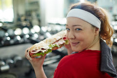 Plump Girl with  Yummy Fattening Food Stock Photo