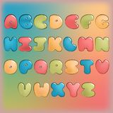 Plump handwritten alphabet vector colorful set. Good for scrap booking, school projects, posters, textiles Royalty Free Stock Photos