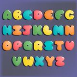 Plump handwritten alphabet vector colorful set. Good for scrap booking, school projects, posters, textiles Royalty Free Stock Photo