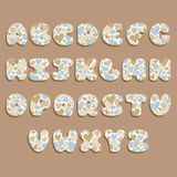 Plump handwritten alphabet vector set with hearts. Good for scrap booking, school projects, posters, textiles Royalty Free Stock Photos