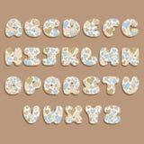 Plump handwritten alphabet vector set with hearts. royalty free illustration