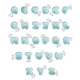 Plump handwritten bubble alphabet vector set. Letters with steam Stock Image