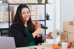 Plump lady in startup office stock images