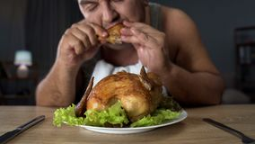 Plump male eating fatty fried chicken hungrily, high-calorie food and addiction stock photo