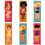 Plump, overweight, plus size curvy women, girls in swimming suits Royalty Free Stock Images