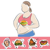 Plump woman with burger and fast food icons Stock Images