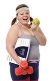 Plump woman dieting stock photos