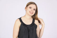 Plump woman with pleasant smile. manager Royalty Free Stock Image