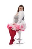 Plump woman in tiara and pink tutu Stock Photography