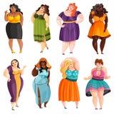 Plump Women Set. Set of plump pretty women in different elegant dresses isolated vector illustration royalty free illustration