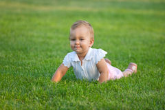 Plumpy baby on the meadow Royalty Free Stock Image