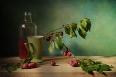 Plums. Still life with plums and juice royalty free stock images