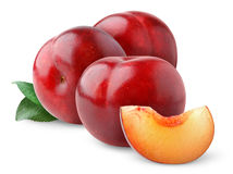 Isolated red plums Royalty Free Stock Images