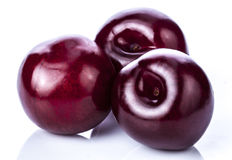 Plums. Fresh plums over white background royalty free stock image
