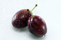 Plums. Two delicious plums on a white with water drops Stock Photos