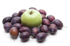 Plums with apple Stock Image