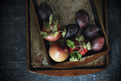 Plums and apples with grunge background. In dark food photography style Stock Photos