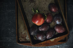 Plums and apples with grunge background. In dark food photography style Royalty Free Stock Photos