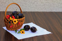 Plums in a basket with flowers Stock Images