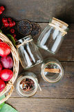 Plums in a basket, rowanberry and glass jars Royalty Free Stock Image