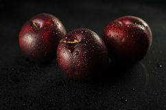 Plums on Black. Low key shot of Plums on a black smooth and wet surface royalty free stock photos