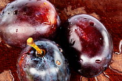 Plums and board. It is three plums with water on the wooden stock image