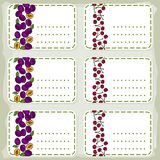 Plums and cherries sticker set Royalty Free Stock Images