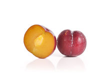 Plums close up isolated on white background Royalty Free Stock Photos