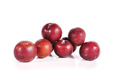 Plums close up isolated on white background Stock Images