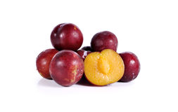 Plums close up  on white background Stock Photo