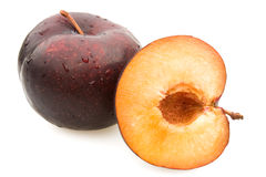 Plums Closeup - Entire And Section Royalty Free Stock Photography