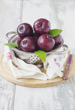 Plums in a colander Royalty Free Stock Photography