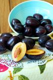 Plums, cut in half Stock Image