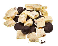 Plums in dark chocolate and white chocolate Stock Image