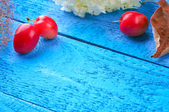 Plums, flowers and leaf litters on a blue wooden background Royalty Free Stock Photography