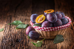 Plums. Fresh juicy plums in a bowl on a wooden or concrete board Stock Images