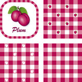 Plums & Gingham Seamless Patterns Stock Photo