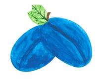 Plums, gouache paint. A pair of plums, a child's drawing, gouache paint, scanned vector illustration