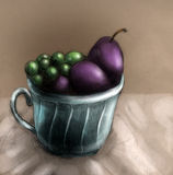 Plums and grapes in a cup. Still life. Pencil drawing, colored sketch Stock Image