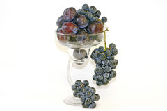 Plums & Grapes in Margarita Glass Royalty Free Stock Image