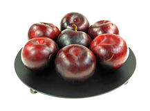 Plums Group Black Pedestal Dish Stock Photos