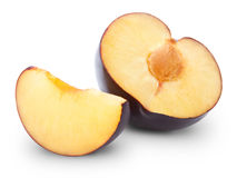 Plums half Stock Image