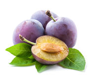 Plums and a half with leaves Stock Photo