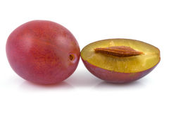 Plums on isolated Stock Photos