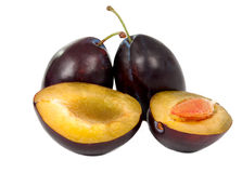 Plums isolated Stock Photos