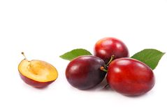 Plums isolated on white Royalty Free Stock Photos