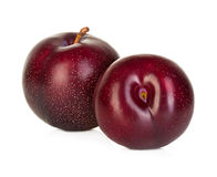 Plums isolated on a white Royalty Free Stock Images