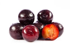 Plums isolated on white background fruits food Royalty Free Stock Photos