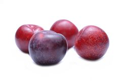 Plums isolated on white background Stock Photos