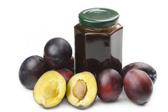 Plums and jam royalty free stock images